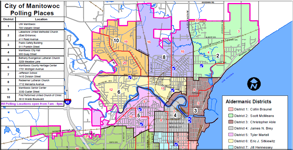 City of Manitowoc Aldermanic Districts