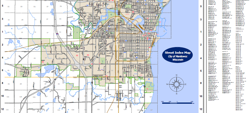 City of Manitowoc Street Index Map